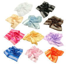 """Premium Silk Feel Striped Satin Square Scarf 21"""" - Different Colors Available"""