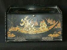 Coffret napoléon III décor au chinois carton bouillie laque XIX