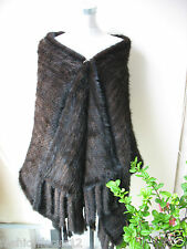 Elegant/XL Women's Real Mink Fur knitted Scarf with pocket cape/coat/shawl/brown