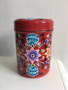 Hand Painted Red Storage Tin w/ Lid Beautiful Pakistani Truck Art Size 13cm 5in