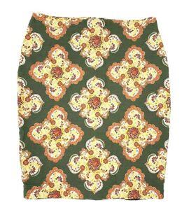 Ann Taylor Loft Womens Size 8 Mandala Damask Print Skirt Summer Olive Green