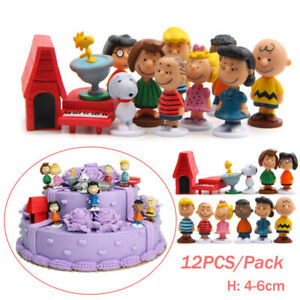 Peanuts Charlie Brown Snoopy Lucy Franklin Figure 12PCS Cake Topper Play Set Toy