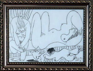 PABLO PICASSO Original Charcoal on Paper, Art Drawing Signed & Dated. 6. 6. 61.