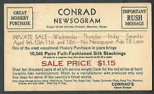 1930 PC BOSTON MA CONRAD NEWSOGRAM FOR SALE ON SILK STOCKINGS