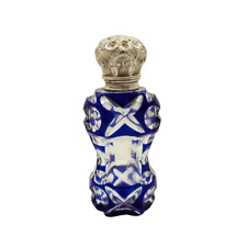 More details for antique silver & blue overlay cut glass perfume / scent bottle c1890