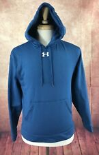 Under Armour Loose Hooded Pullover Blue Pocket Fleece Lined Sweatshirt Men's S