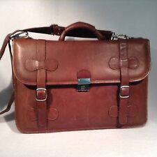 Piel Leather Classic Briefcase Chestnut Brown Messenger Bag Pre-Owned