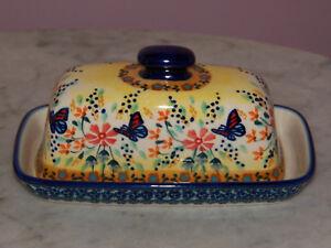 Polish Pottery American Butter Dish! UNIKAT Signature Butterfly Summer Pattern!