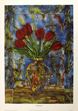 Peter McCarthy Printemps Tulipes blues l'art floral taille:56 cm x 39cm RARE
