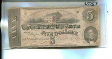 1862 $5 Confederate Currency Note Vg Fine 2775P
