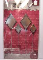 4 Diamond Bezels Hatpins Stick Pins Fill w/ Beads Resin Ephemera Paper Glitter