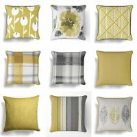 "Ochre Cushion Covers Mustard Grey Yellow 18"" / 17"" Cover 45cm / 43cm Cushions"