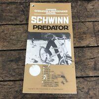 Vintage SCHWINN OWNERS MANUAL PREDATOR / STING / TEAM Z 1983 83 Old School BMX