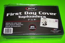 25 FIRST DAY COVER TOPLOADERS, RIGID PVC,ARCHIVAL SAFE, 7 X 4, FOR #6 ENVELOPE