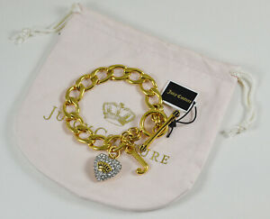 NEW Juicy Couture Pave Heart Charm Starter Bracelet Gold Color