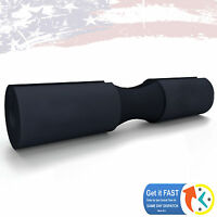 """Olympic Squat Barbell Pad (18"""" x 3.5"""" x 1.25"""") with Extended Neck Cushion BLACK"""