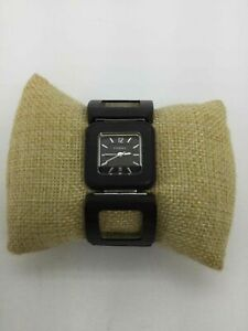 Fossil Wooden Square Link St. Steel Watch