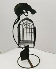 "Black Metal Sculpture Cats Hang Bird Cage Folk Art Primitive Halloween 20"" Tall"