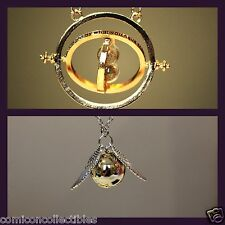 Harry Potter Necklace 2pc Set: Hermione's Time-Turner + Golden Snitch