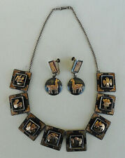 Silver Peruvian Gold Necklace W/Matching Earrings Vtg. Old Cuzco 18K and .925