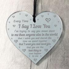 I Love You Plaque Heart Anniversary Gift For Husband Wife Boyfriend Girlfriend