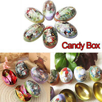 1/6pcs Vintage Easter Eggs Tin Metal Rabbit Litho Gift Wedding Candy box Great