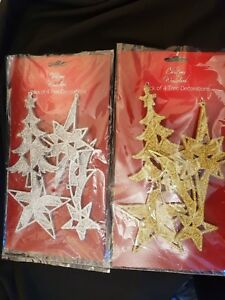 Christmas - Pack of 4 Glitter Tree Decorations - Silver or Gold