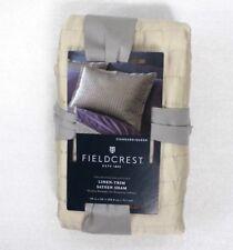 Fieldcrest Linen-Trim Sateen Striped Stitch Standard Pillow Sham Cream