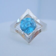 2.11ct Fiery Natural Blue Zircon Bespoke Ring