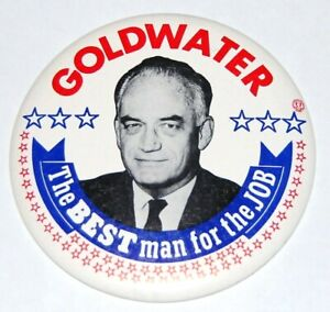 """1964 BARRY GOLDWATER 6"""" INCH campaign pin pinback button political presidential"""