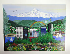 "Portland OR Print by Jennifer Lake Miller Signed 12"" x 16"" New Mt Hood"