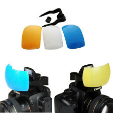Yellow White Blue 3 Color Pop-up Flash Diffuser Kit for Canon Nikon SLR Camera