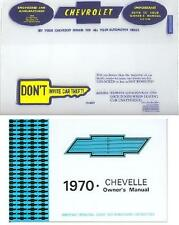 1970 70  CHEVELLE  OWNERS MANUAL AND COVER