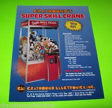 SUPER SKILL CRANE By GRAYHOUND ORIGINAL NOS REDEMPTION ARCADE GAME SALES FLYER