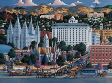 DOWDLE FOLK ART COLLECTORS JIGSAW PUZZLE SALT LAKE CITY TEMPLE SQUARE 500 PCS