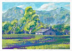 original painting A3 177MA art samovar Gouache modern landscape Signed 2021