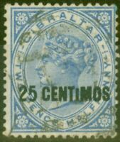 Gibraltar 1889 25c on 2 1/2d Brt Blue SG18ab Small I Fine Used