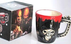 4x Halloween Skull Dracula Blood Black Red Glazed Ceramic Embossed Coffee Mugs