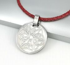 Silver Irish Celtic Round Trinity Knot Pendant Red Braided Leather Cord Necklace