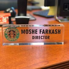 Desk Name Plate Personalized Name, Title & Logo Custom Acrylic 3D Nameplate
