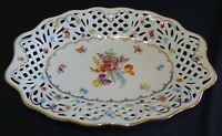 """Schumann Germany US Zone Dresden Flowers Reticulated Oval Bowl 10 3/4"""""""