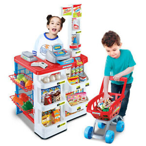 Childrens Pretend Role Play Big Supermarket Shop Toy Set Trolley & Food