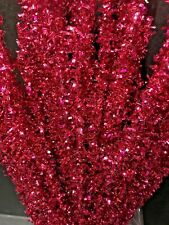 """Celebrate It Ch 00004000 ristmas Hot Pink Metalic Tinsel Picks Sprays Floral 15"""" New"""