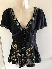 $118 Anthropologie LITHE floral embroidered blouse, top, size 2 fits Small, 4/6