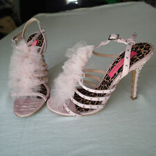 betsey johnson shoes high heel 6.5 M,light pink  LACE, studs k