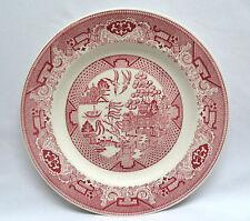 "Pink ""Willow Ware"" Royal China USA Transferware Dinner Plate 10"""