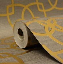 Muriva 601537 précieux SOIE Marrakech Chaud Or Gris Géométrique Luxe Papier Peint