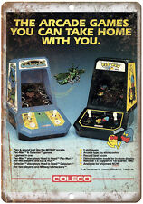 "Coleco Mini-Arcade Pac Man Galaxian Gaming 10"" x 7"" Reproduction Metal Sign"