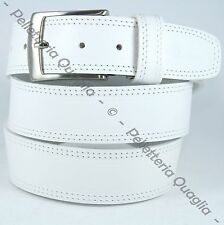 Cintura Pelle Bianco Cuoio Uomo Donna Artigianale Made In Italy 4,0 cm c2