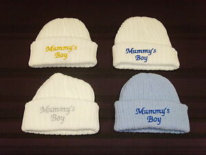 Baby Knitted Wool Embroidered Personalised Hat With Saying Mummy's Boy